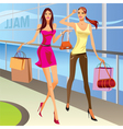 Fashion shopping girls with bags vector image vector image