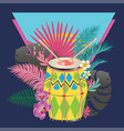 festive drum with tropical leaves vector image