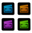 glowing neon movie clapper with inscription xxx vector image vector image