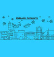 great britain plymouth winter holidays skyline vector image vector image