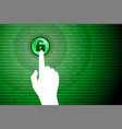 green technology background touch unlock button vector image vector image