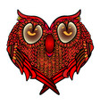 greeting card with heart - settled cute owl in vector image