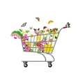 grocery cart with flowers vector image vector image