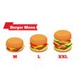 hamburger menu with different ingredients vector image vector image