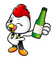 happy cock character holding a bottled of vector image vector image