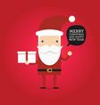 hipster cartoon santa claus holding gift box vector image vector image