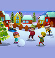 kids playing in snow during winter season vector image