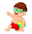 little boy running with beach ball vector image