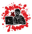 man works on his laptop cartoon graphic vector image vector image