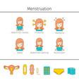 menstruation symptom icons set vector image vector image