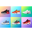 new fitness sneakers set fashion shoes for vector image