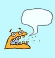 orange monster sponge with speech cloud vector image