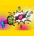 pop art megaphone pink woman lips wow vector image vector image