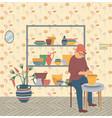 pottery hobby man hipster at home pots making vector image vector image