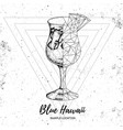 realistic and polygonal cocktail blue hawaii vector image vector image