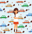 sad girl in traffic broken car accident vector image