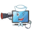 sailor with binocular lcd tv in shape of mascot vector image