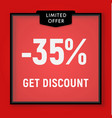 sale 35 percent off get discount website button vector image vector image