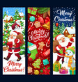 santa and snowman with gifts bag christmas banners vector image