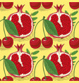 seamless pattern with cherries and pomegranates vector image vector image