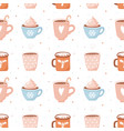 seamless pattern with cute cocoa cups and vector image vector image