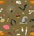 seamless pattern with halloween magic items vector image vector image
