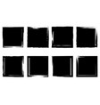 set grunge squares from brush strokes design vector image vector image