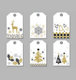 set of assorted new year and christmas gift tags vector image
