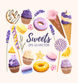 set of delicious fruit sweets and desserts vector image