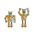set of two toy electronic robots expressing vector image