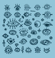 set of various hand drawn eyes freehand doodle vector image vector image