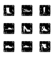 Shoes icons set grunge style vector image