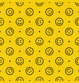 smile icon pattern happy faces on yellow vector image vector image
