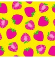 Strawberry seamless pattern Bright pop art Hand vector image