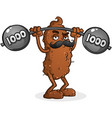tough poop cartoon lifting weights vector image vector image