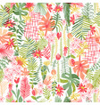 tropical flower composition seamless pattern vector image