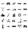 war burden icons set simple style vector image