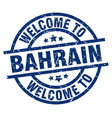 welcome to bahrain blue stamp vector image vector image
