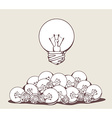 white big lightbulb above pile of lightbu vector image vector image