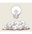 white big lightbulb above pile of lightbu vector image
