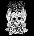 wiccan emblem with skull and rose vector image vector image