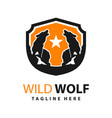 wolf shield logo design template vector image vector image
