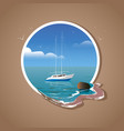yacht at sea with reflection and seagulls in vector image vector image