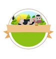 cow on green meadow vector image