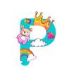 cute magic letter p vector image