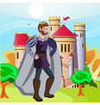 king in front of his castle vector image