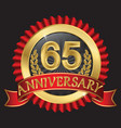 65 years anniversary golden label with ribbons vector image vector image