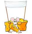 A mouse eating below the empty banner vector image