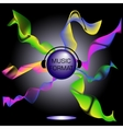 A musical theme with disco ball and headphones vector image vector image