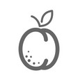 apricot peach with leaf icon apricot fruit sign vector image vector image